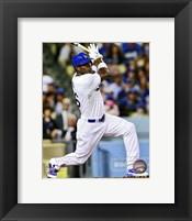 Framed Yasiel Puig Baseball Hitting Action
