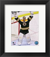 Framed Tuukka Rask celebrates winning the 2013 Eastern Conference Finals