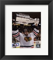 Framed Corey Crawford with the Stanley Cup Game 6 of the 2013 Stanley Cup Finals