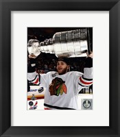 Framed Patrick Kane with the Stanley Cup Game 6 of the 2013 Stanley Cup Finals