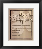 Framed Five Simple Rules