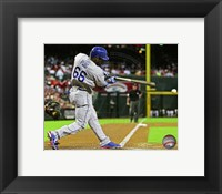 Framed Yasiel Puig Hitting Baseball