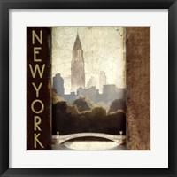 Framed City Skyline New York Vintage Square