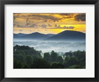 Framed Asheville NC Blue Ridge Mountains Sunset and Fog Landscape