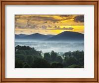 Framed Asheville NC Blue Ridge Mountains Sunset and Fog Landscape