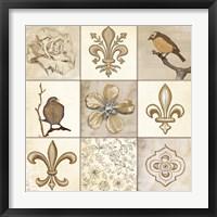 Framed Fleur 9 Panel
