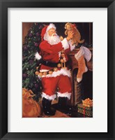 Framed Santa With Puppy