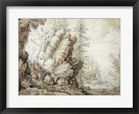 Framed Landscape with Waterfall
