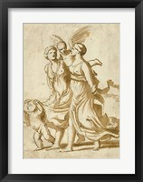 Framed Two Girls Accompanied by Cupid