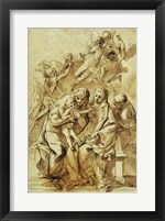 Framed Holy Family with Saint Anne