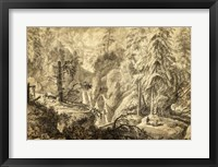 Framed Mountain Landscape, Peasants in a Clearing near a Waterfall