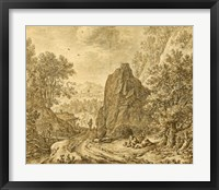 Framed Mountain Landscape with Figures