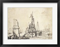 Framed Ship in a Port with a Ruined Obelisk
