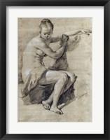 Framed Seated Female Nude