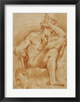 Framed Seated Nude Man, A Youthful Head, and a Caricature Head of a Man Playing a Pipe