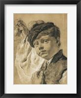 Framed Boy Holding a Pear