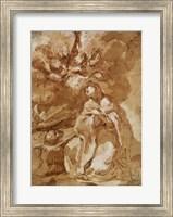 Framed Female Saint Contemplating a Crucifix