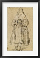Framed Standing Woman Holding a Muff and Shawl