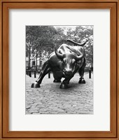 Framed Wall Street Bull Sculpture 1