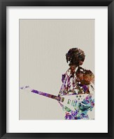 Framed Hendrix with Guitar Watercolor