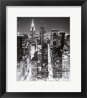 Framed Night Skyline NYC