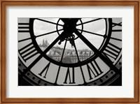 Framed Big Clock Horizontal Black and White