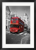 Framed Red Bus
