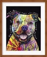 Framed Beware of Pit Bulls