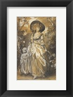 Framed Lady Walking in a Garden with a Child