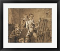 Framed Three Young Artists in a Studio