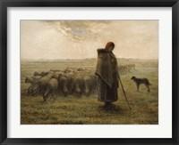 Framed Shepherdess and Her Flock