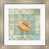 Framed Shell Tiles II Blue