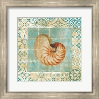 Framed Shell Tiles III Blue