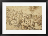 Framed Landscape with Shepherds by a River and a Town Beyond