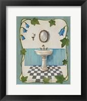 Framed Bell Flower Bath II on Ivory