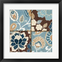 Patchwork Motif Blue I Framed Print