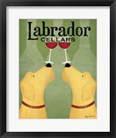 Framed Two Labrador Wine Dogs