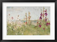 Framed Hollyhocks by the Sea