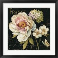 Framed Marche de Fleurs on Black