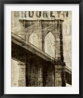 Framed Vintage NY Brooklyn Bridge
