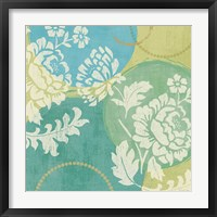 Framed Floral Decal Turquoise II