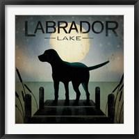 Framed Moonrise Black Dog - Labrador Lake