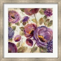 Framed Blue and Purple Flower Song II