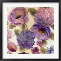 Blue and Purple Flower Song III Framed Print
