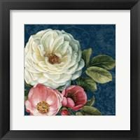 Framed Floral Damask II on Indigo