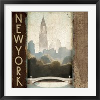 Framed City Skyline New York Vintage Square