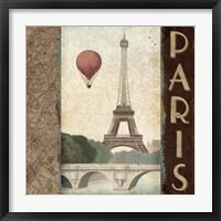 Framed City Skyline Paris Vintage Square