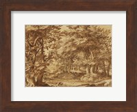 Framed Forest Landscape with a Distant Castle