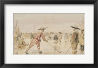 Framed Winter Scene with Two Gentlemen Playing Colf