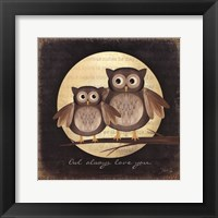 Framed Owl Always Love You - Pair of Owls